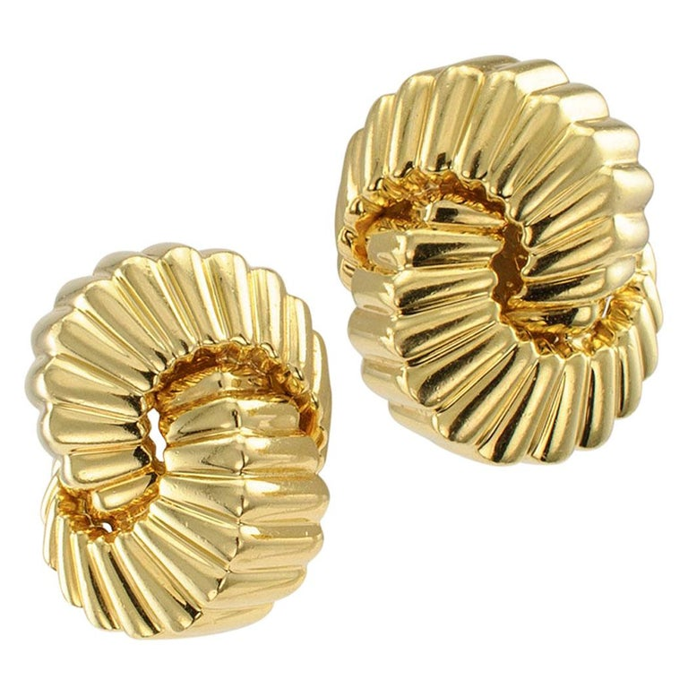 Tiffany & Co. Cordis Gold Earrings For Sale