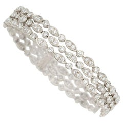 Tiffany & Co. Crochet 3 Row and Bracelet 7 Carat G VS2 Diamonds Made in Platinum