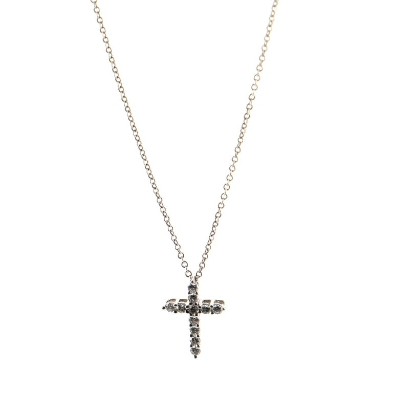 Round Cut Tiffany & Co. Cross Pendant Necklace Platinum and Diamonds Small For Sale