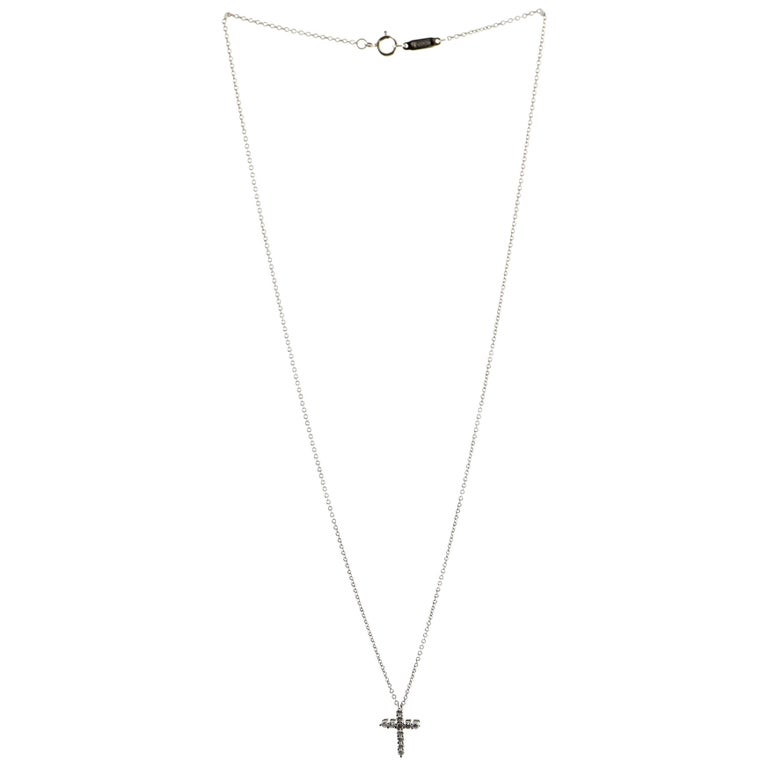 Tiffany & Co. Cross Pendant Necklace Platinum and Diamonds Small For Sale