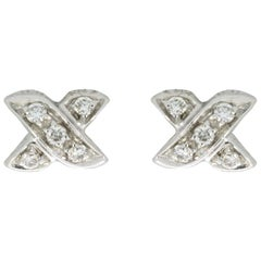 Tiffany & Co. Cross Stitch White Gold 0.10 Carat Round Diamond Studded Earrings