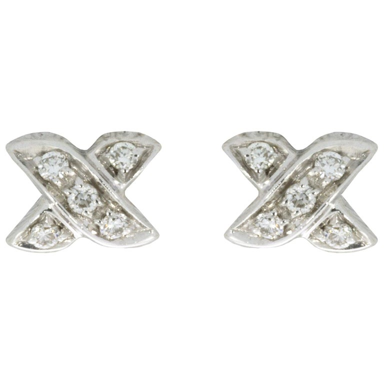 Tiffany & Co. Cross Stitch White Gold 0.10 Carat Round Diamond Studded Earrings For Sale