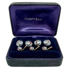 Tiffany & Co. Cufflinks and Studs, Hematites with Rubies Set in Yellow Gold