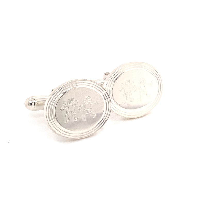 Tiffany & Co. Cufflinks with Children Engraving Sterling Silver 925 TIF24  100% authentic guaranteed  Newly polished and looks like-new condition  We have taken many pictures at different angles for you to see how fabulous the condition of the