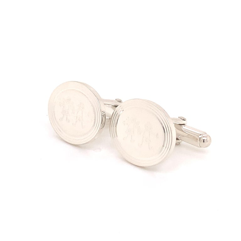 Tiffany & Co. Estate Cufflinks with Children Engraving Sterling Silver In Good Condition For Sale In Brooklyn, NY