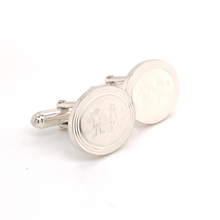 Tiffany & Co. Estate Cufflinks with Children Engraving Sterling Silver For Sale 1