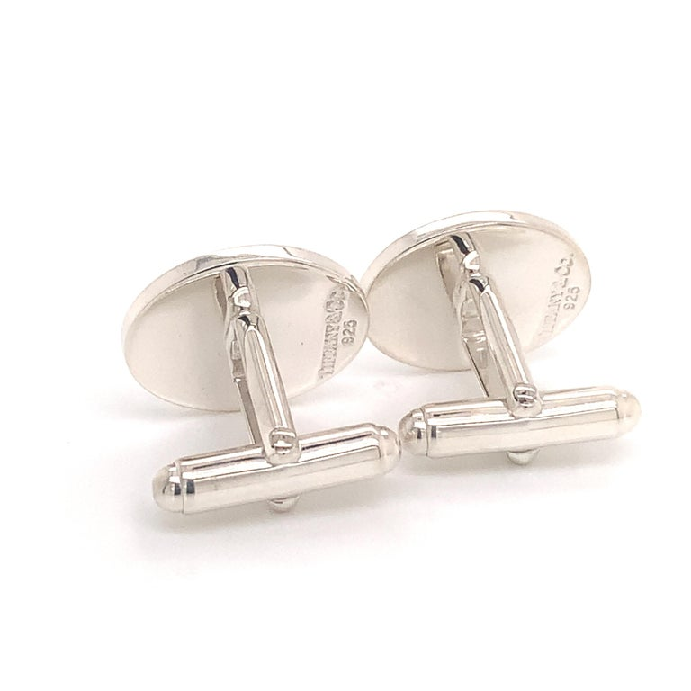 Tiffany & Co. Estate Cufflinks with Children Engraving Sterling Silver For Sale 4