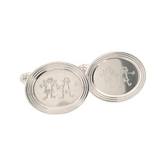 Tiffany & Co. Cufflinks with Children Engraving Sterling Silver 925