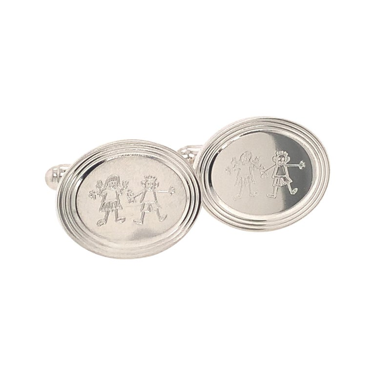 Tiffany & Co. Estate Cufflinks with Children Engraving Sterling Silver For Sale