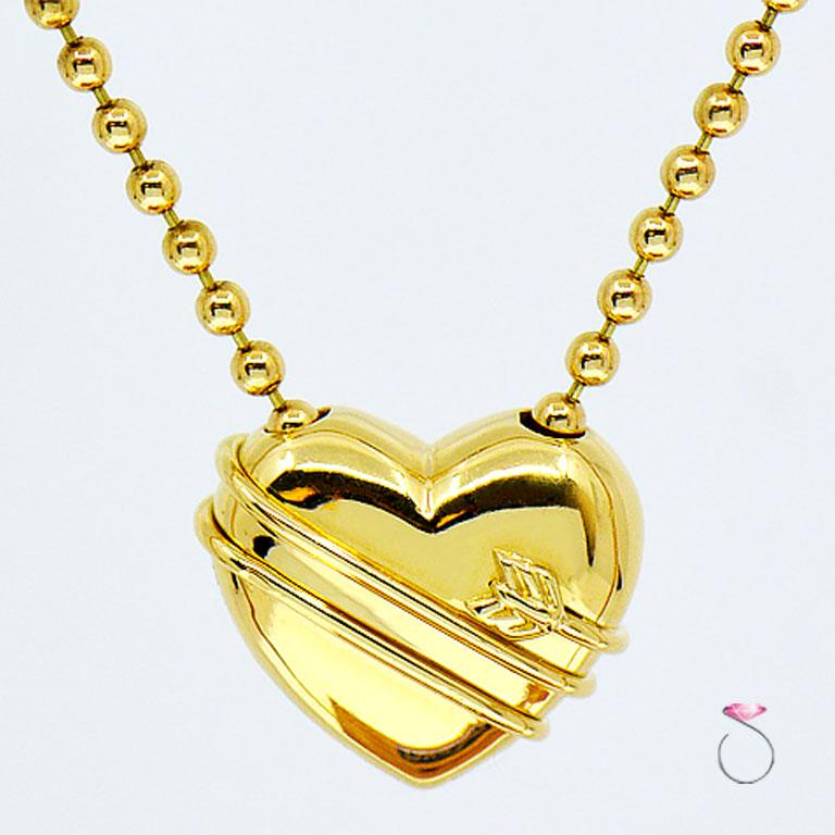 Tiffany & Co. Cupid Heart & Arrow 18k Yellow Gold Pendant & Bead Chain Necklace In Excellent Condition In Honolulu, HI