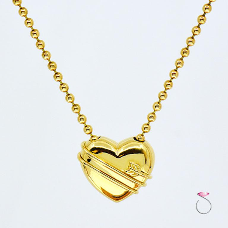Women's or Men's Tiffany & Co. Cupid Heart & Arrow 18k Yellow Gold Pendant & Bead Chain Necklace