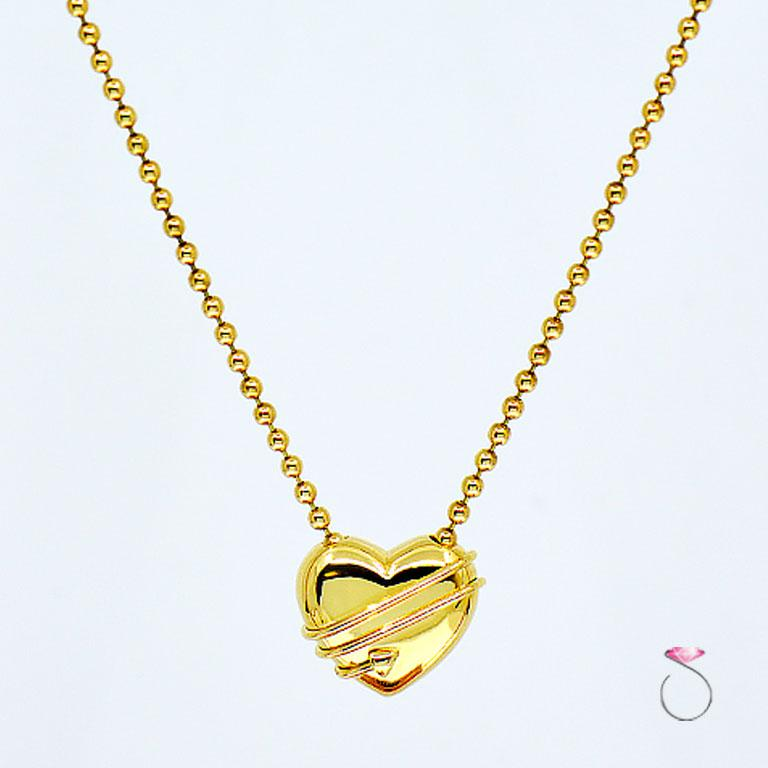 Tiffany & Co. Cupid Heart & Arrow 18k Yellow Gold Pendant & Bead Chain Necklace 1