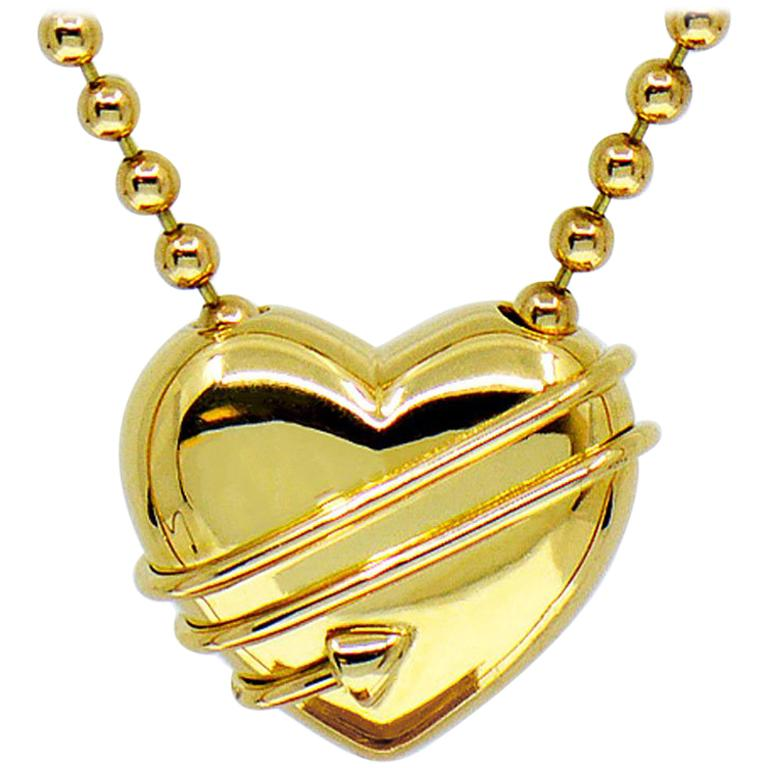 Tiffany & Co. Cupid Heart & Arrow 18k Yellow Gold Pendant & Bead Chain Necklace