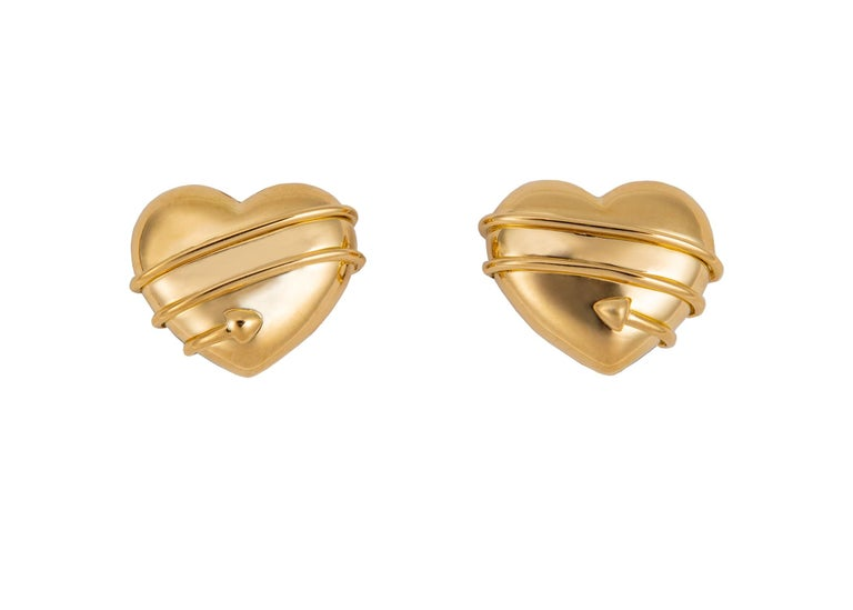 Contemporary Tiffany & Co. Cupid's Arrow Heart Earrings For Sale