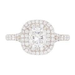 Tiffany & Co. Cushion Cut Diamond Double Halo Soleste Ring