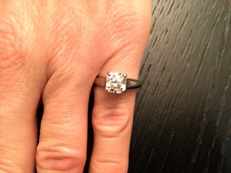 Tiffany Co Cushion Cut Platinum And Diamond Engagement Ring 1 71 Carat