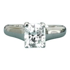 Tiffany & Co. Cushion Cut Platinum and Diamond Engagement Ring .83 Carat