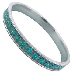 Tiffany & Co. Daisy Flower Blue Enamel Bangle Bracelet in Sterling Silver