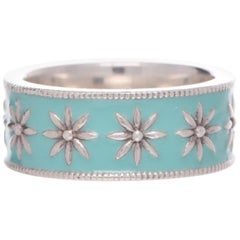 Tiffany & Co. Daisy Flower Blue Enamel Sterling Silver Ring
