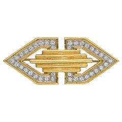 Tiffany & Co. Deco 18 Karat Yellow Gold and Diamond Clip Brooch
