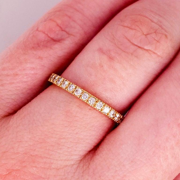 Contemporary Tiffany & Co. Diamond 18 Karat Gold Band, Rose Gold Tiffany & Co. Ring .30 Carat For Sale