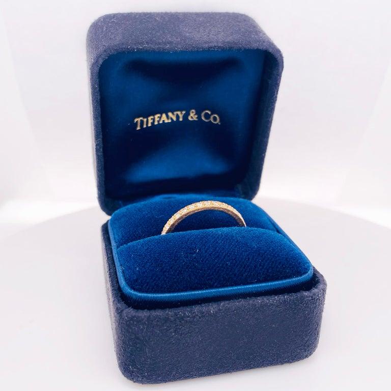 Round Cut Tiffany & Co. Diamond 18 Karat Gold Band, Rose Gold Tiffany & Co. Ring .30 Carat For Sale