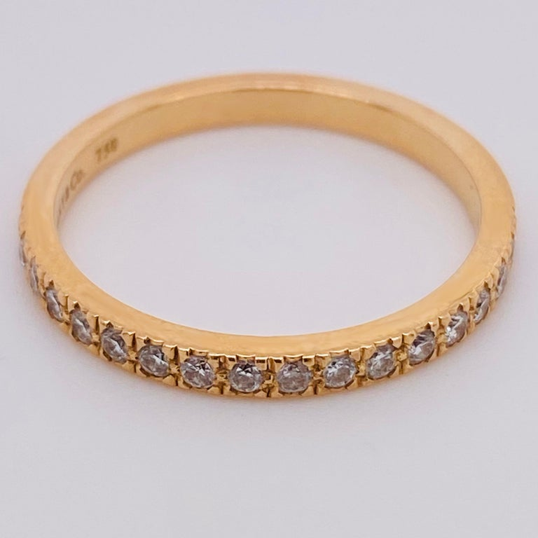 Tiffany & Co. Diamond 18 Karat Gold Band, Rose Gold Tiffany & Co. Ring .30 Carat In Excellent Condition For Sale In Austin, TX