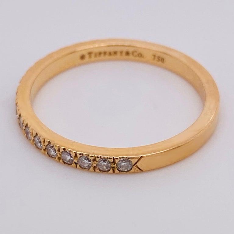 Women's Tiffany & Co. Diamond 18 Karat Gold Band, Rose Gold Tiffany & Co. Ring .30 Carat For Sale