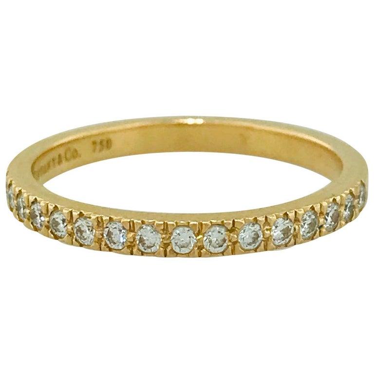 Tiffany & Co. Diamond 18 Karat Gold Band, Rose Gold Tiffany & Co. Ring .30 Carat For Sale