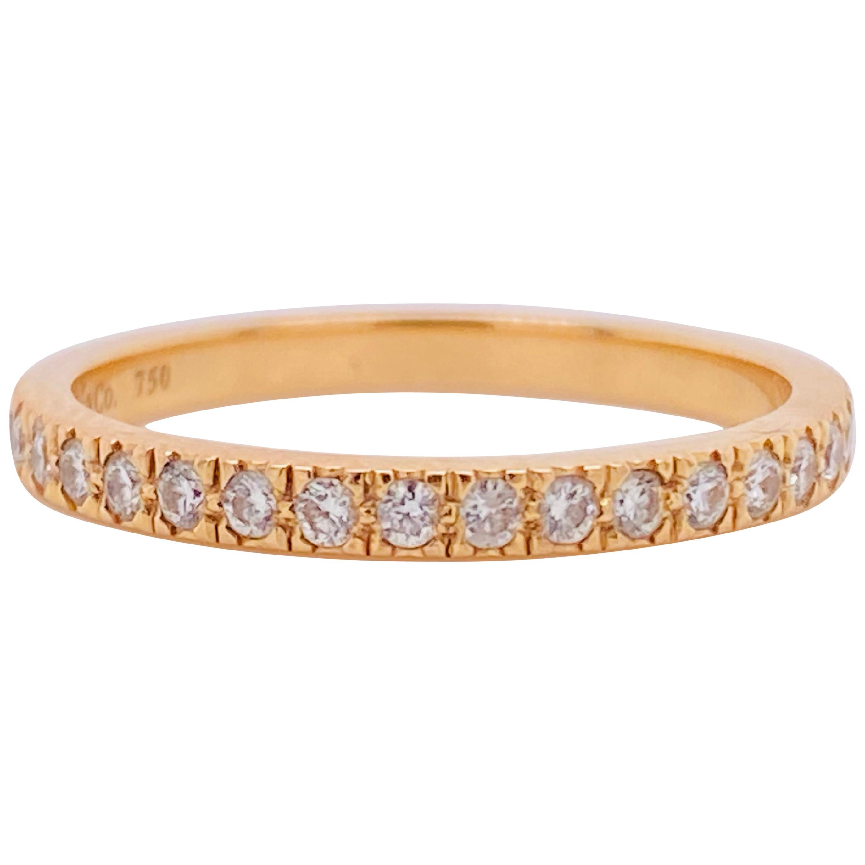 Tiffany & Co. Diamond 18 Karat Gold Band, Rose Gold Tiffany & Co. Ring .30 Carat