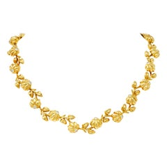 Tiffany & Co. Diamond 18 Karat Gold Flower Collar Necklace