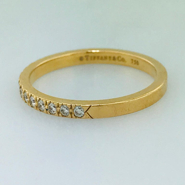 Tiffany & Co. Diamond 18 Karat Rose Gold Band, Rose Gold Tiffany & Co. Ring, .30 For Sale 4