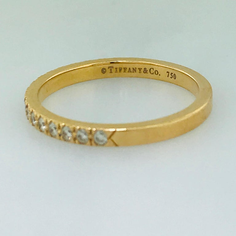 Tiffany & Co. Diamond 18 Karat Rose Gold Band, Rose Gold Tiffany & Co. Ring, .30 For Sale 5
