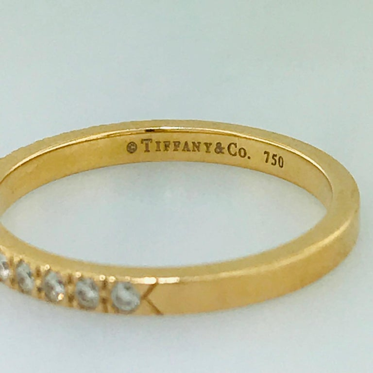 Tiffany & Co. Diamond 18 Karat Rose Gold Band, Rose Gold Tiffany & Co. Ring, .30 For Sale 6