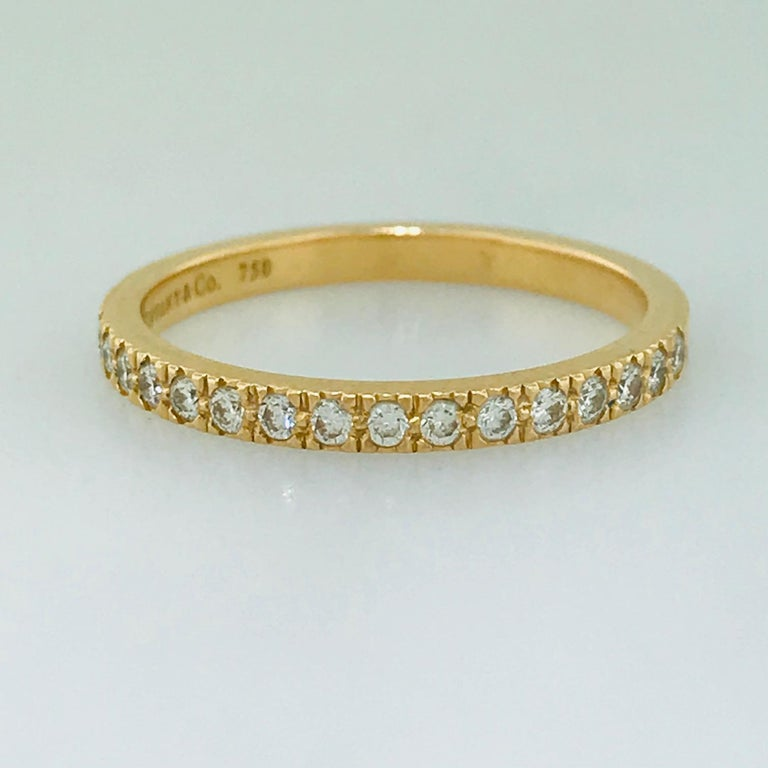 Tiffany & Co. Diamond 18 Karat Rose Gold Band, Rose Gold Tiffany & Co. Ring, .30 For Sale 7