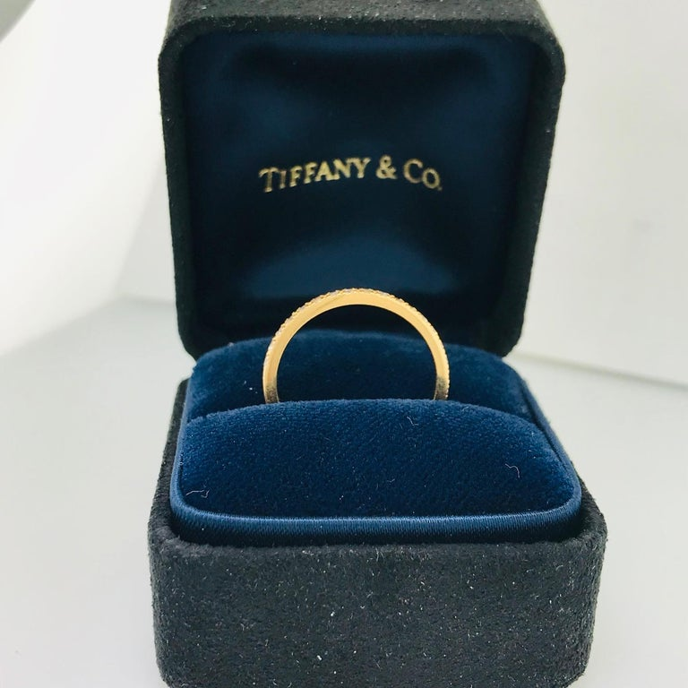 Contemporary Tiffany & Co. Diamond 18 Karat Rose Gold Band, Rose Gold Tiffany & Co. Ring, .30 For Sale