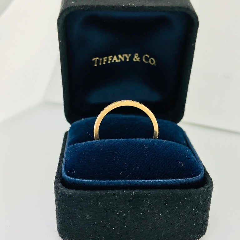 Round Cut Tiffany & Co. Diamond 18 Karat Rose Gold Band, Rose Gold Tiffany & Co. Ring, .30 For Sale