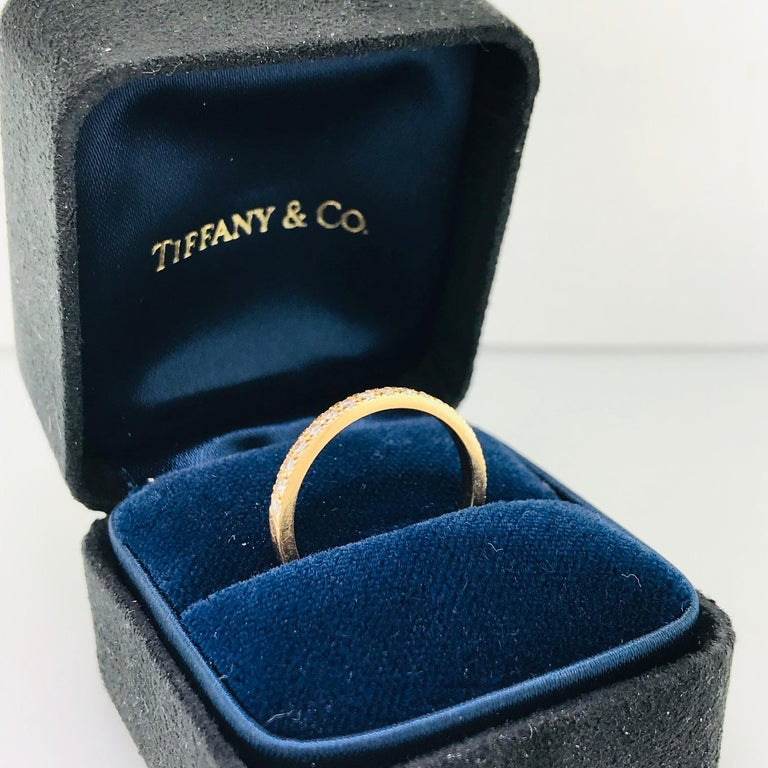 Women's Tiffany & Co. Diamond 18 Karat Rose Gold Band, Rose Gold Tiffany & Co. Ring, .30 For Sale