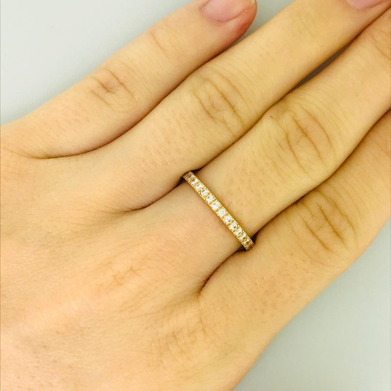 Tiffany & Co. Diamond 18 Karat Rose Gold Band, Rose Gold Tiffany & Co. Ring, .30 For Sale 1
