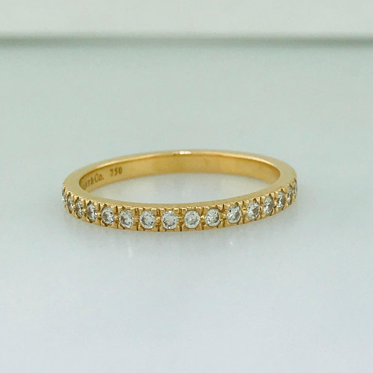 Tiffany & Co. Diamond 18 Karat Rose Gold Band, Rose Gold Tiffany & Co. Ring, .30 For Sale 2
