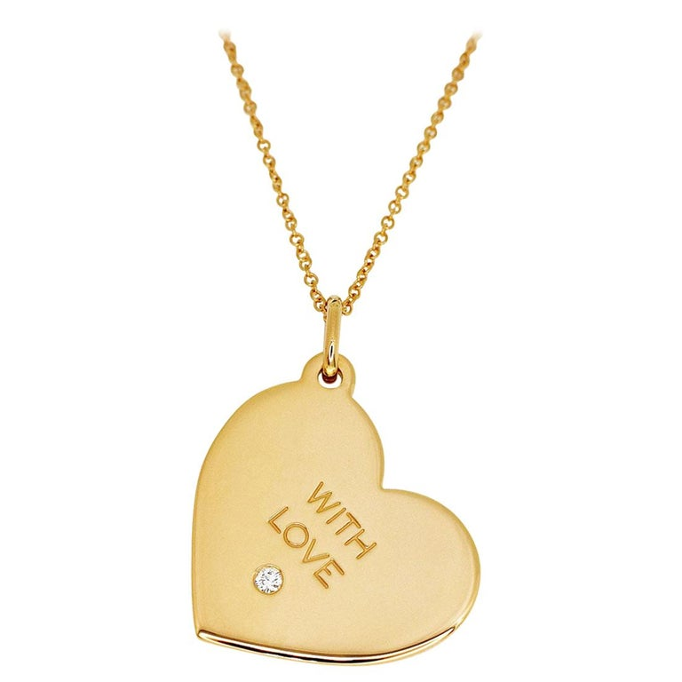 Tiffany And Co Diamond 18 Karat Rose Gold With Love Heart Tag Pendant Necklace For Sale At 1stdibs