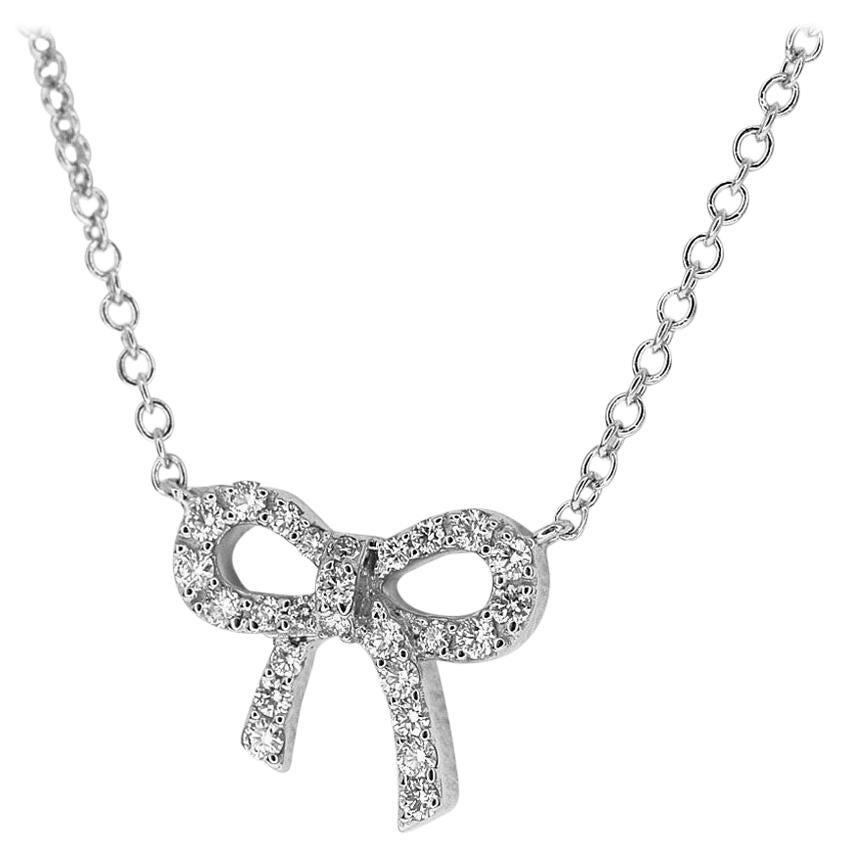 Tiffany & Co. Diamond 18 Karat White Gold Bow Pendant Necklace Mini