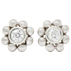 Tiffany & Co. Diamond 18 Karat White Gold Floral Cluster Stud Earrings