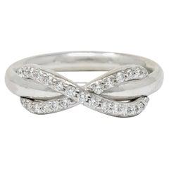 Tiffany & Co. Diamond 18 Karat White Gold Infinity Stacking Band Ring