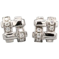 Tiffany & Co. Diamond 18 Karat White Gold Woven Stud Earrings