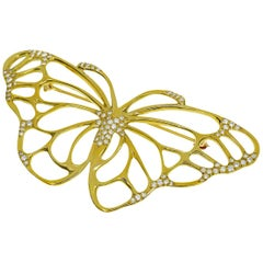 Tiffany & Co. Diamond 18 Karat Yellow Gold Butterfly Brooch