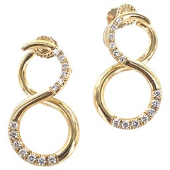 Tiffany & Co. Diamond 18 Karat Yellow Gold Infinity Vintage Earrings