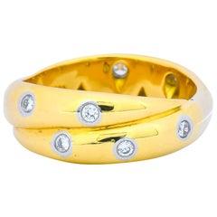 Tiffany & Co. Diamond 18 Karat Yellow Gold Platinum Etoile Band Ring