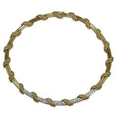 Tiffany & Co. Diamond 18 Yellow & White Gold Necklace