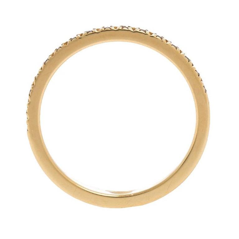 Tiffany & Co. Diamond 18k Yellow Gold Half Eternity Ring Size 50 In Good Condition For Sale In Dubai, Al Qouz 2